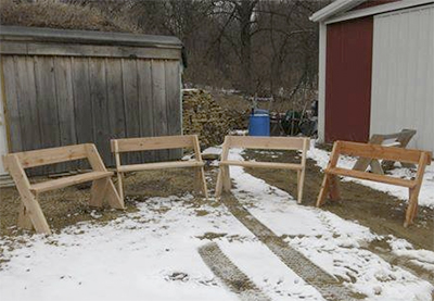 Benches built by students with the Juvenile Division of the Wisconsin Department of Corrections